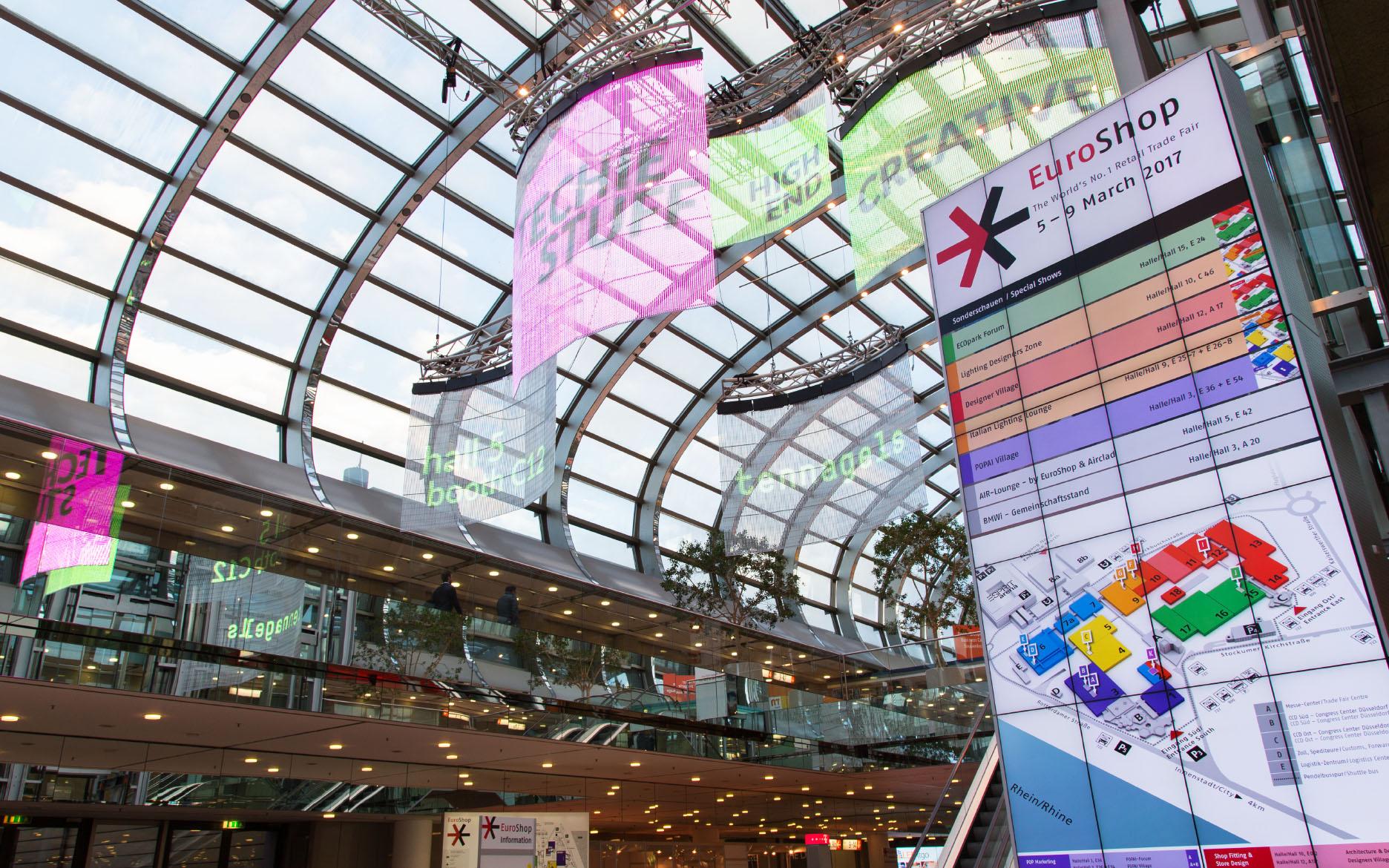 Euroshop 2017, Mall – transparent LED curtain